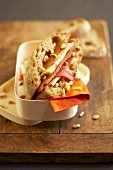 Duck Magret, stilton and grilled pine nut sandwich