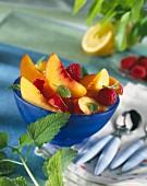 Nectarine and raspberry fruit salad