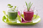 Red and green soups