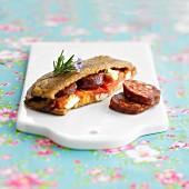 Chorizo and cheese toasted sandwich