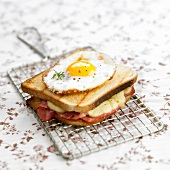 Ham and cheese toasted sandwich topped with a fried egg