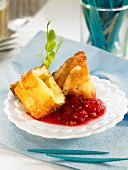 Fried Camemebert with bilberries
