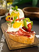 Chistorra and fried quail's egg open sandwich