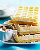 Waffles with toffee sauce