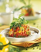 Three marinated pepper Tartare