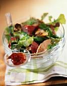 Foie gras and duck's gizzards salad