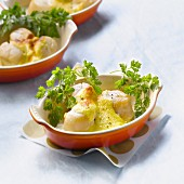 Scallop and Champagne sabayon gratin