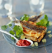 Sardine open sandwich with lime