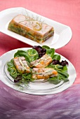 Tuna fillets and young vegetables in spicy aspic