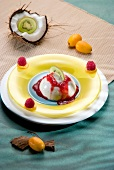 Coconut jelly with raspberry puree