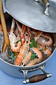 Dublin Bay prawns in a cooking pot
