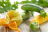 Zucchinis and zucchini flowers