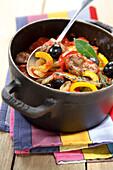 Pork,pepper and olive stew