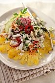 White fish, red pepper and pineapple salad