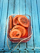 Sliced blood oranges with cloves and spices