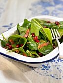 Raw spinach, bacon and pomegrante seed salad