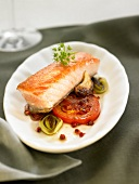 Salmon fillet cooked with white wine