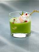 Cold cream of pea soup with Dublin Bay prawns