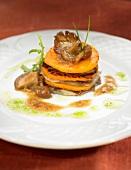Pumpkin and pleurotus mushroom lasagnes