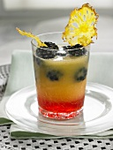 Pineapple juice with blackberries