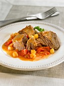 Knuckle of lamb,red pepper and chickpea stew