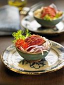 Veal Sashimi with sesame seeds and wasabi