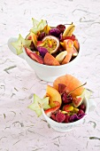 Fruit salad with pansy petals