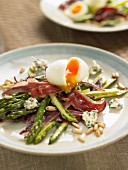 Fried wild asparagus and duck ham, soft-boiled egg and pine nuts