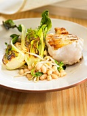 Monkfish with white beans, chinese cabbage and beansprouts