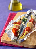Mackerel cooked in aluminium foil