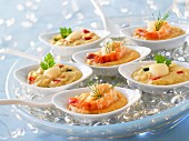 Scallops and shrimps in Cognac sauce appetizers