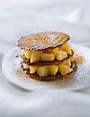 Chocolate tuile biscuit and pear Mille-feuille