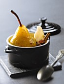 Casserole dish of spicy pear with honey