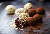 Different flavored chocolate truffles