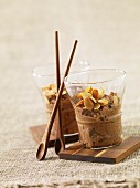 Chocolate rice pudding with thinly sliced grilled almonds