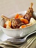 Duck giblets with carrots and turnips