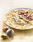 Chestnut flour pancake with Brocciu and fig jam