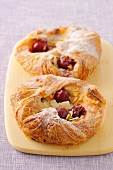 Griotte sour cherry and almond flaky pastry pies