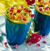 Fruit, vegetable and edible flower salad