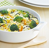 Rice,vegetable and seed gratin