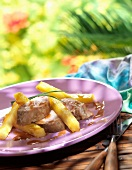 Pork filet mignon with pineapple chips