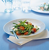 Green bean,tomato,black olive and mozzarella salad