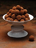 Dish of chocolate truffles