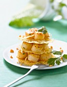 Petoncle scallop and fried noodle savoury Mille-feuille