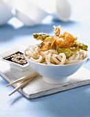 Udon pasta with vegetable and shrimp Tempuras