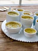 Tea-flavored baked egg custards