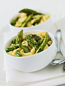 Scrambled eggs with green asparagus