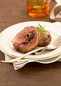 Roast duck Magret stuffed with figs