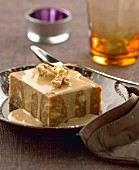 Walnut pudding with sauce