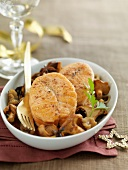 Salmon steaks with mushrooms